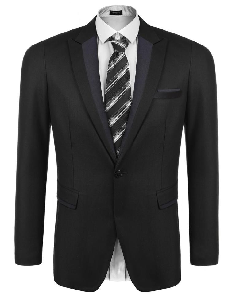 [Penjualan Di Breakdown Harga] Penjualan Maya Pria Lengan Panjang Kerah Ramping Sesuai Blazer Satu Tombol Kantong Tutup Bisnis setelan Jaket (Hitam) -Internasional
